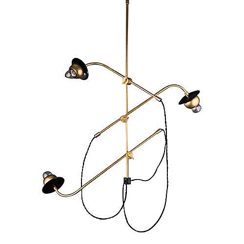 Felix Chandelier, Raw Brass/Black