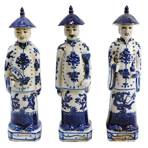 Asst. of 3 Standing Emperor Statues, Blue/Ivory