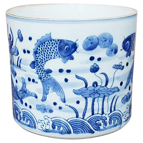 "8"" Feeding Fish Planter, Blue/White"