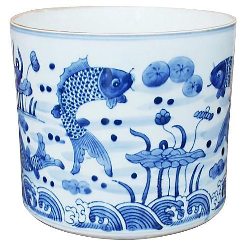 "8"" Feeding Fish Planter, Blue/White"