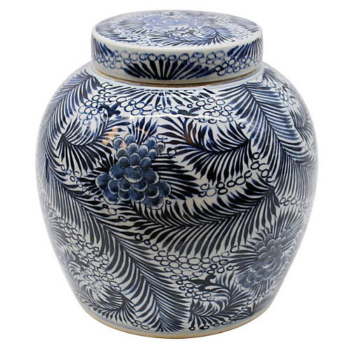 "12"" Blooming Palm Jar, Blue/White"