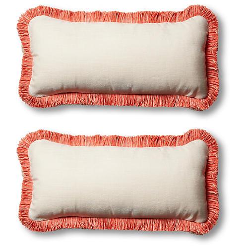 S/2 Classic Outdoor Lumbar Pillows, Natural/Melon