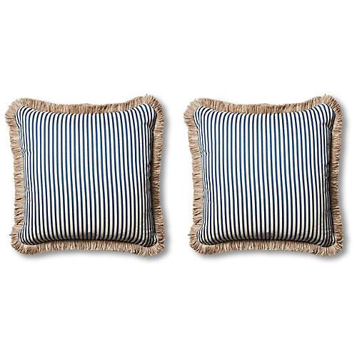 S/2 Lyra Outdoor Pillows, Blue/Beige