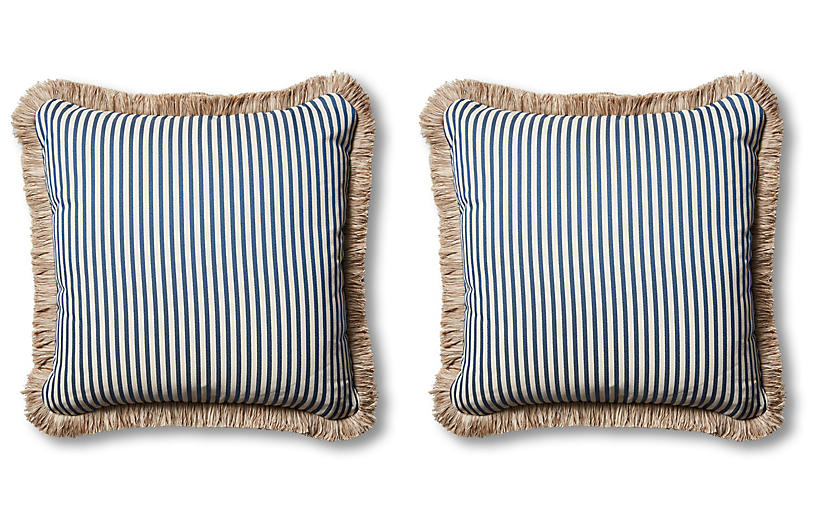 S/2 Lyra Outdoor Pillows, Blue/Beige