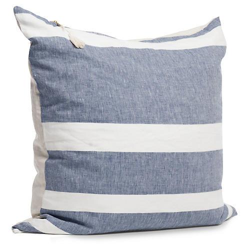 Majorca 26x26 Pillow, Blue/White