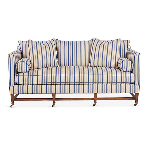 Brentwood Sofa, Blue Stripe