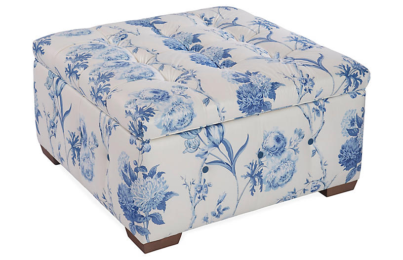 Amazing Canon Storage Ottoman Blue Floral Linen Mark D Sikes Gmtry Best Dining Table And Chair Ideas Images Gmtryco