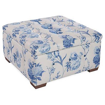 Canon Storage Ottoman, Blue Floral Linen