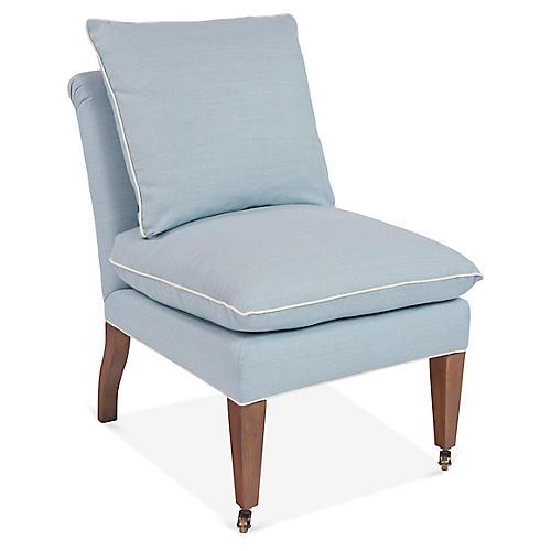 Loring Slipper Chair, Light Blue Linen