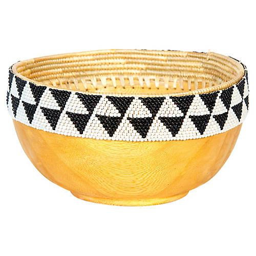 """8"""" Seka II Beaded Bowl, Black/White"""
