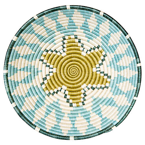 "14"" Lindy Accra Basket, Silver-Blue/Gold"