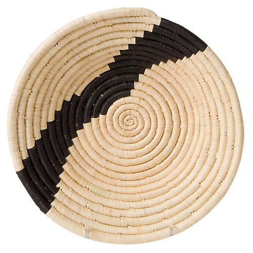 "10"" Dolow Striped Decorative Bowl, Black/Natural"