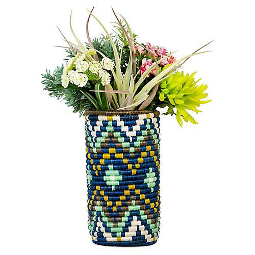 """9"""" Gamma Ikiyaga Vase, Island Blue/Multi"""