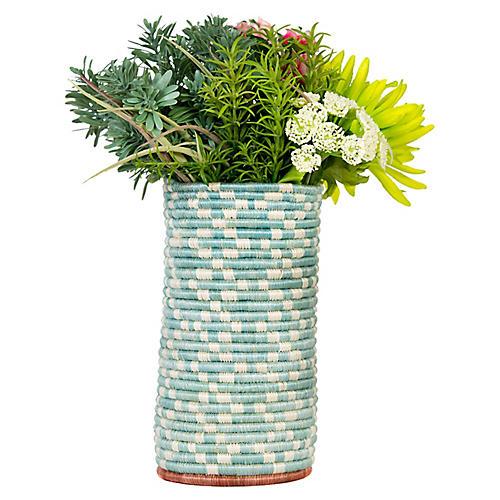 "9"" Gamma Yumbe Vase, Silver-Blue/Rosewood"