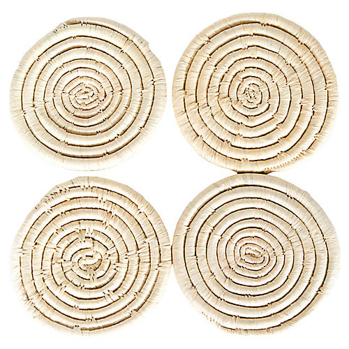 S/4 Raffia Coasters, Natural