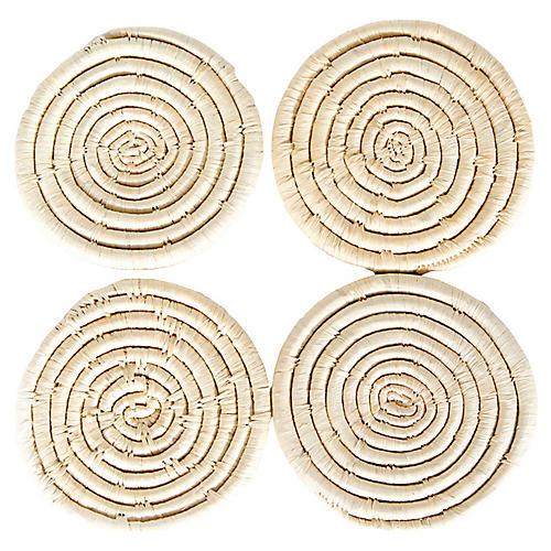 S/4 Raffia Coasters, Natural