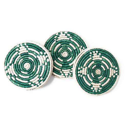 S/6 Kellan Coasters, Green/Ivory