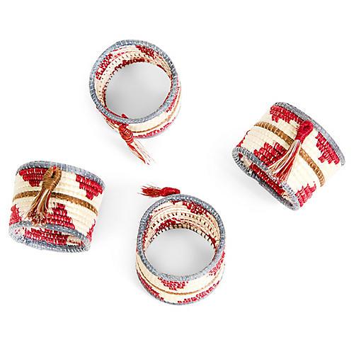 S/4 Tasseled Napkin Rings, Earth Red/Multi