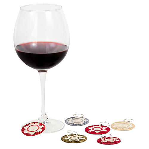 Asst. of 6 Sunrise & Burst Wine Charms, Multi