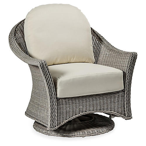 Regent Swivel Club Chair, Dove Sunbrella