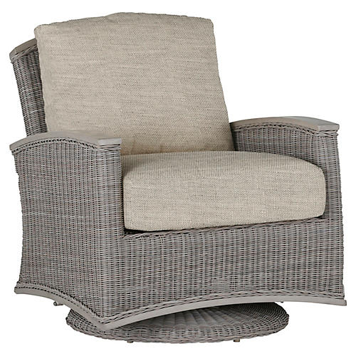 Astoria Swivel Club Chair, Dove Sunbrella
