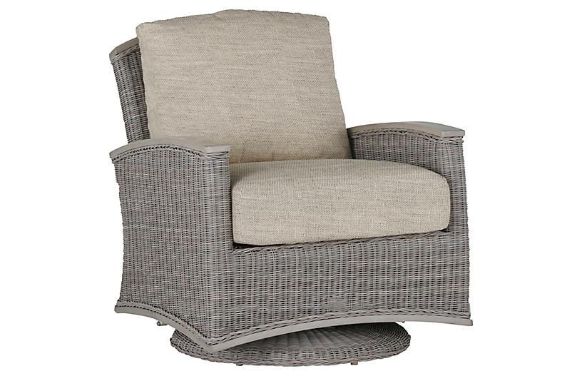 Astoria Swivel Club Chair, Dove Sunbrella