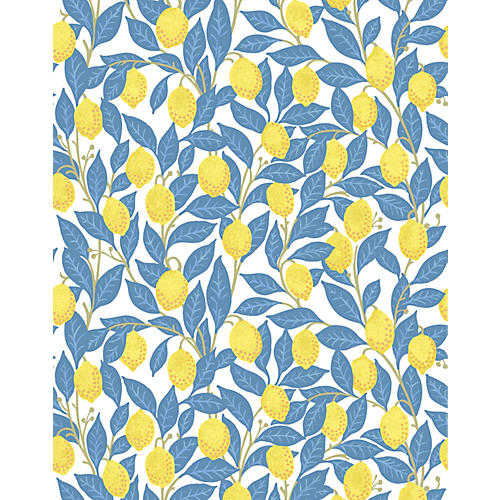 Lemons Wallpaper, Blue