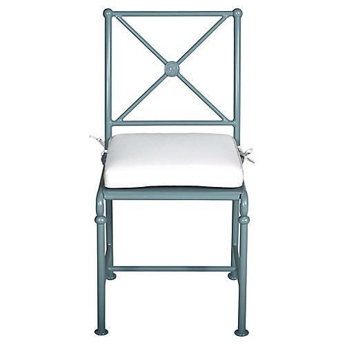 1800 Outdoor Side Chair, White Sunbrella