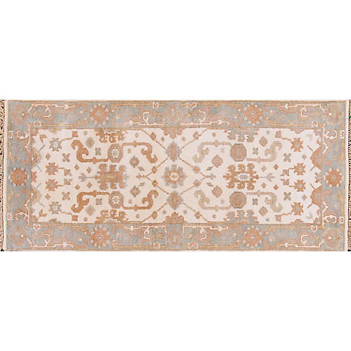 """2'7""""x6' Modern Oushak Hand-Knotted Rug, Cream"""