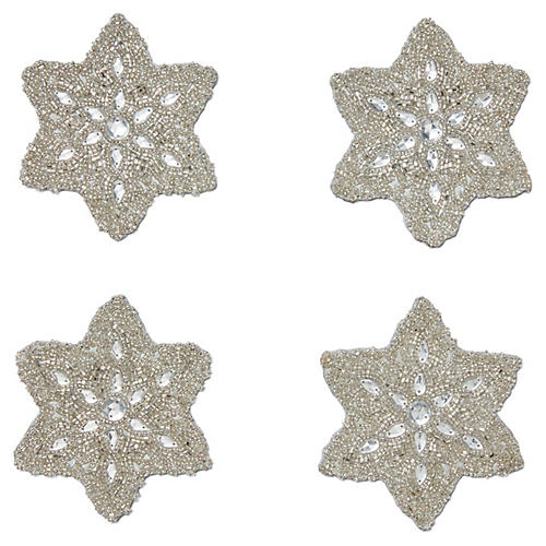 S/4 Snowflake Coasters, Silver