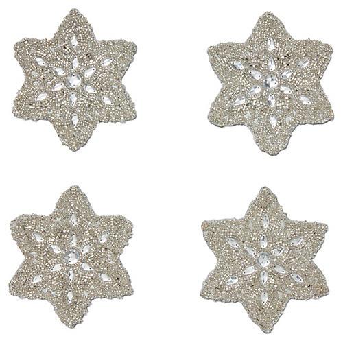 S/4 Snowflake Coasters, Silver