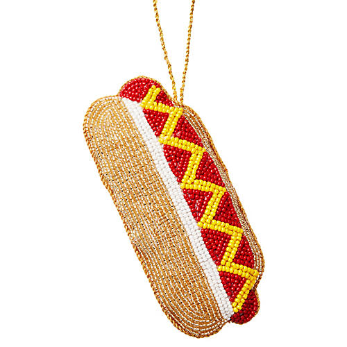Hot Dog Beaded Ornament, Gold/Multi
