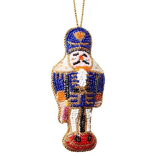 Nutcracker Beaded Ornament, Blue/Multi