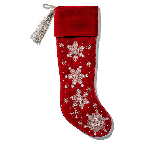 Snowflake Beaded Stocking, Red/Silver