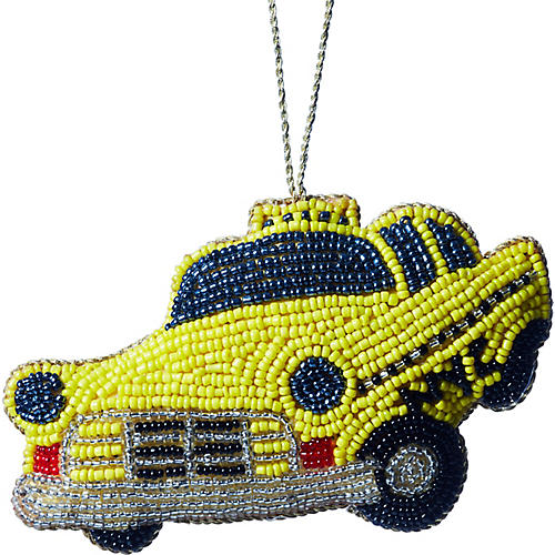 Taxi Beaded Ornament, Yellow/Multi