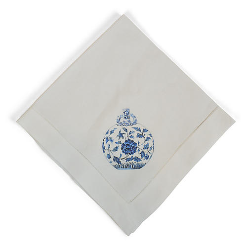 Blue & White Jar Dinner Napkin, White/Multi