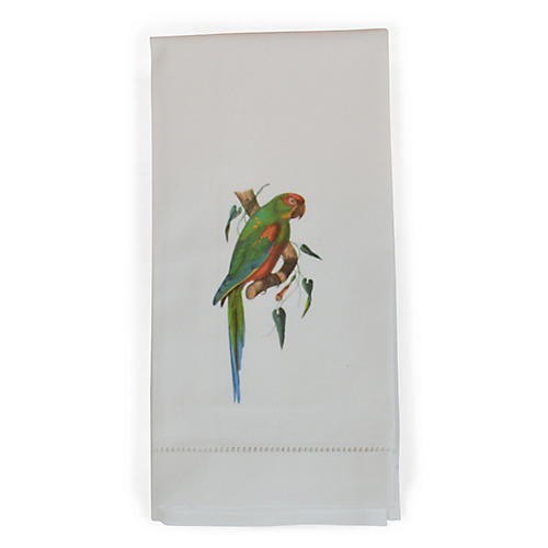 S/2 Parrot on a Branch Guest Towels, White/Multi
