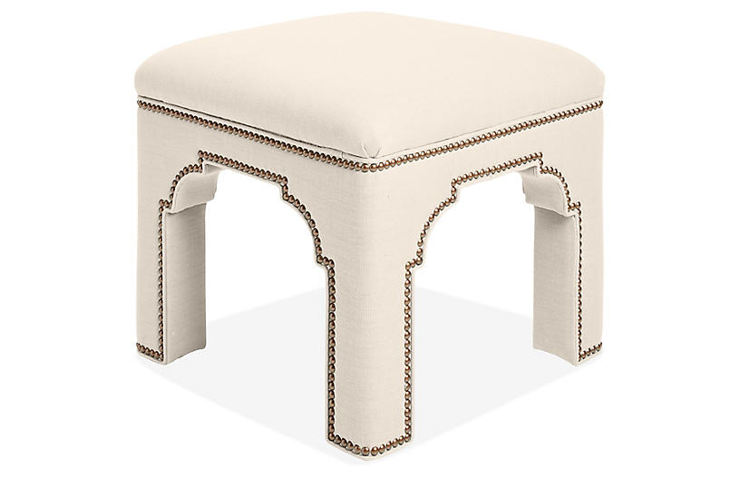 Taj Stool, Natural Linen