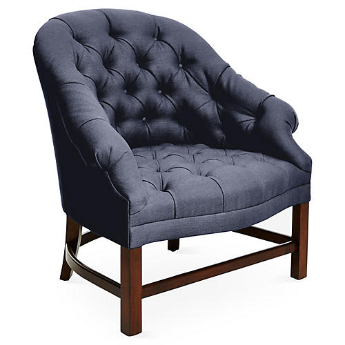 T42 Accent Chair, Maple/Navy Linen