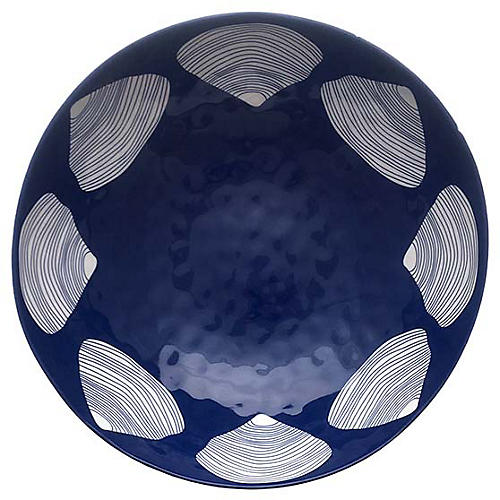 Clamshell Melamine Serving Bowl, Blue/White