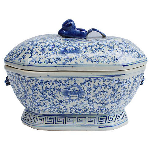 "14"" Butera Jar, Blue/White"