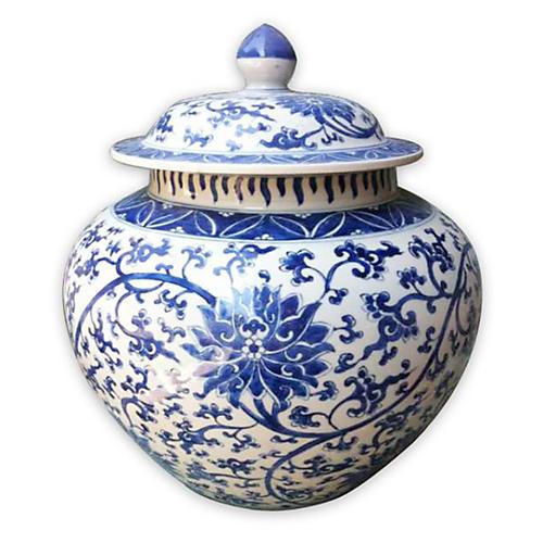 """14"""" Lianna Jar, Blue/White"""