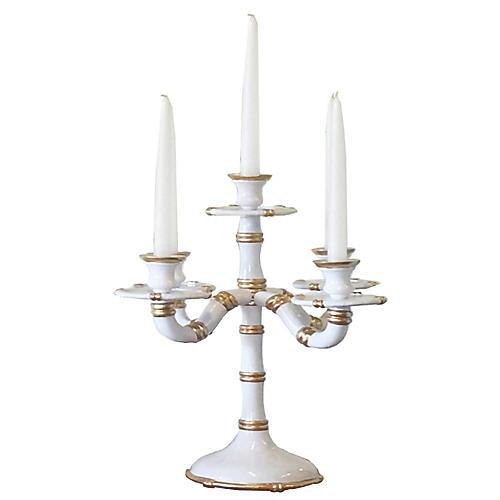 "17"" Bamboo-Style Candelabra, White"