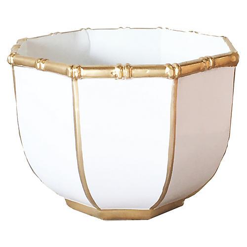 Bamboo-Style Decorative Bowl, White
