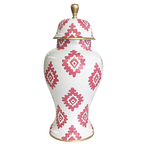 """15"""" Block-Print Ginger Jar, Pink/White"""