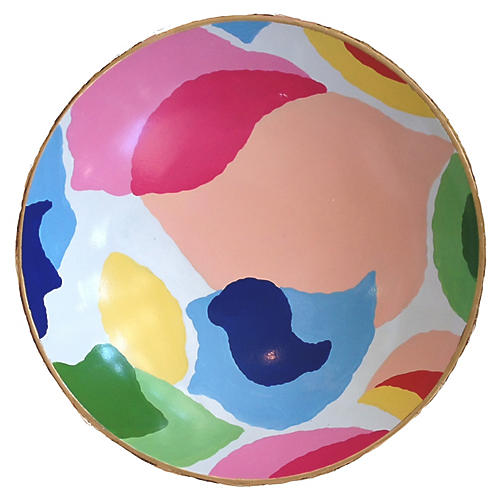 "12"" Modern Art Decorative Bowl, Pink/Multi"