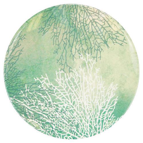 Coral Melamine Dinner Plate, Blue/Multi