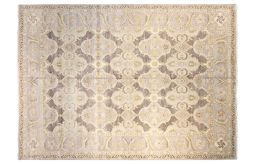 12'x15' Sari Lincoln Hand-Knotted Rug, Gray