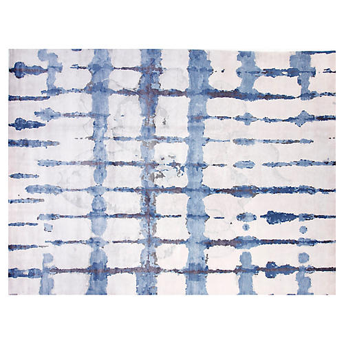 9'x12' Ocean Hand-Knotted Rug, Blue/White