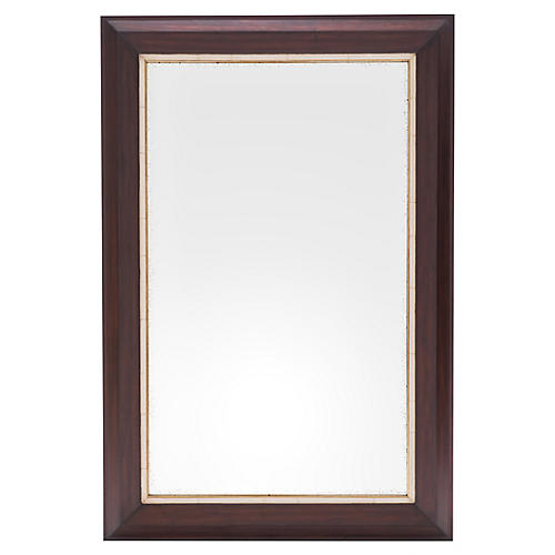 Harrison Floor Mirror, Walnut/Ivory/Brass